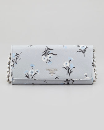 Prada Floral Saffiano Wallet on Silver Chain
