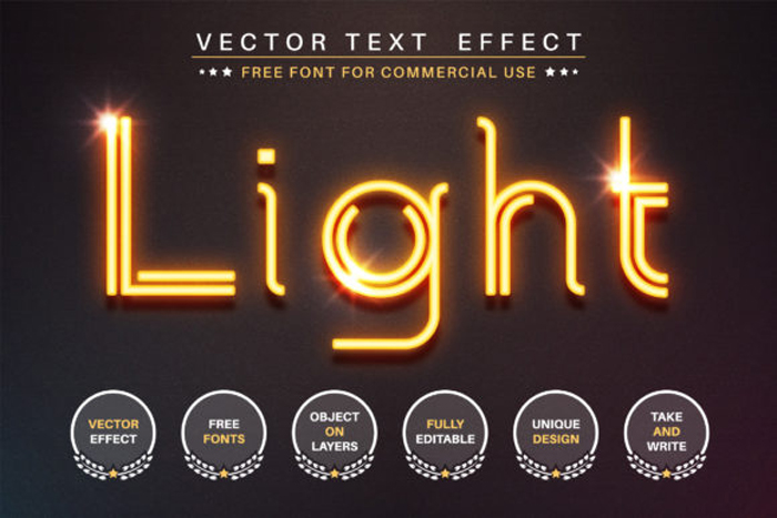 Glowing Wire Editable Text
