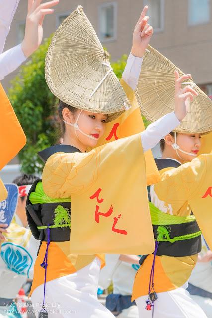 天狗連、熊本地震被災地救援募金チャリティ阿波踊り、女踊りの踊り手の写真