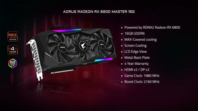 Gigabyte  RX 6800 (XT) AORUS Master 16GB
