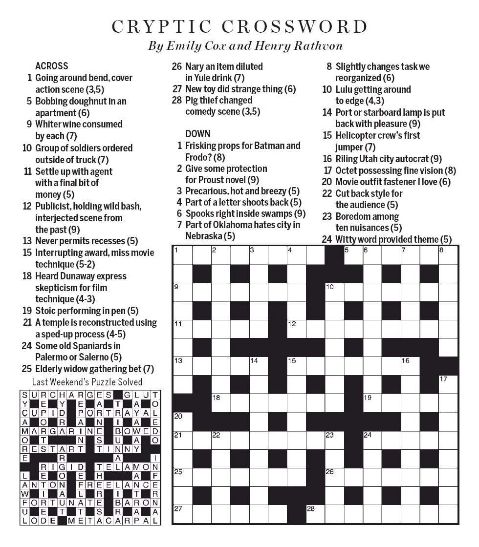 National Post Cryptic Crossword Forum May 2020