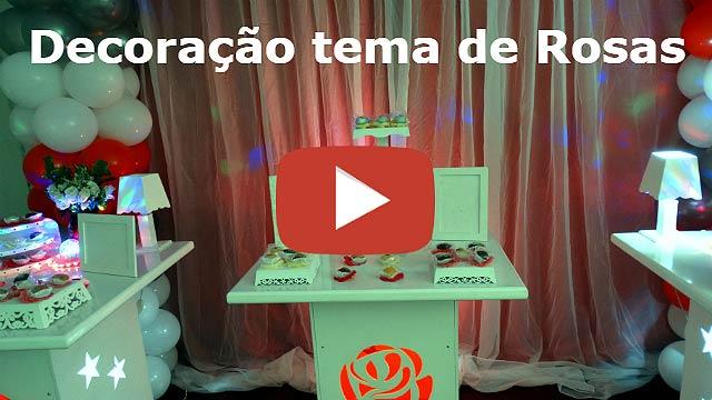 Decoração feminina para festa de adultos tema de rosas