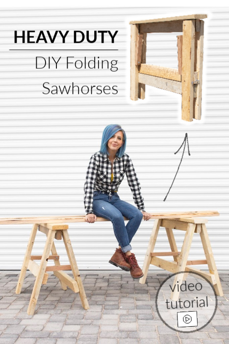 How to make strong heavy duty wood folding DIY sawhorses with these free plans and video tutorial