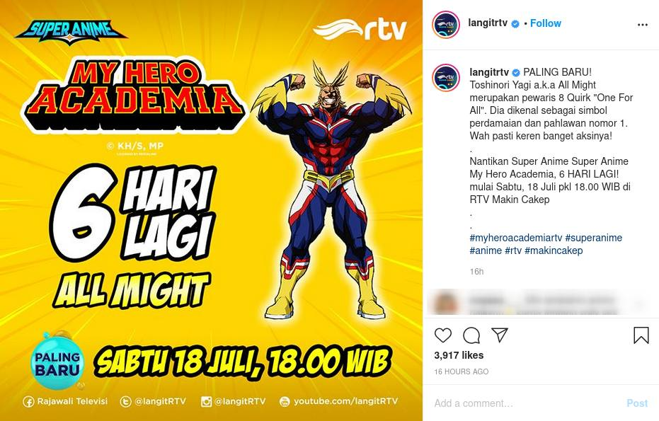 Jadwal Tayang Anime Boku no Hero Academia di RTV