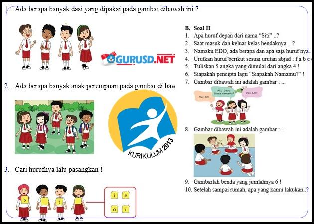 Contoh Soal Kelas 1 Kurikulum 2013 Revisi 2017 Dan Kunci Jawaban Gurusd Web Id