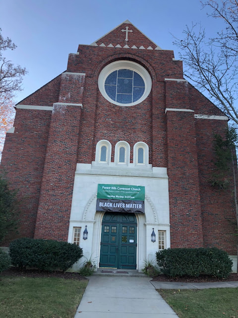 "Forest Hills Covenant Church, ""Black Lives Matter"" banner hanging in front above entrance"