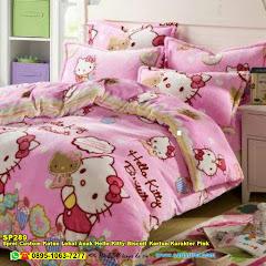 Sprei Custom Katun Lokal Anak Hello Kitty Biscuit Kartun Karakter Pink