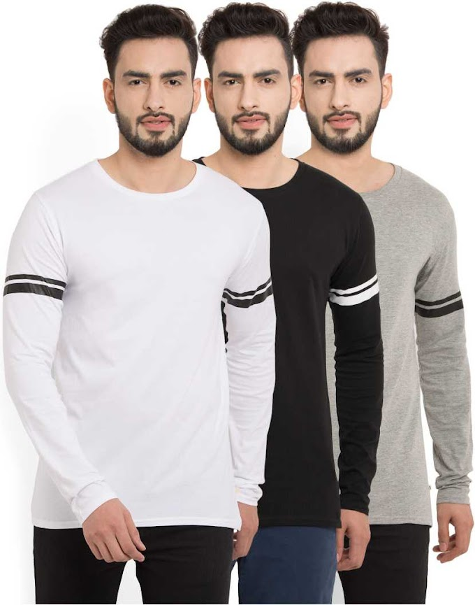 Rs.662/- PerfectFit Striped Men Round or Crew Multicolor T-Shirt  (Pack of 3)