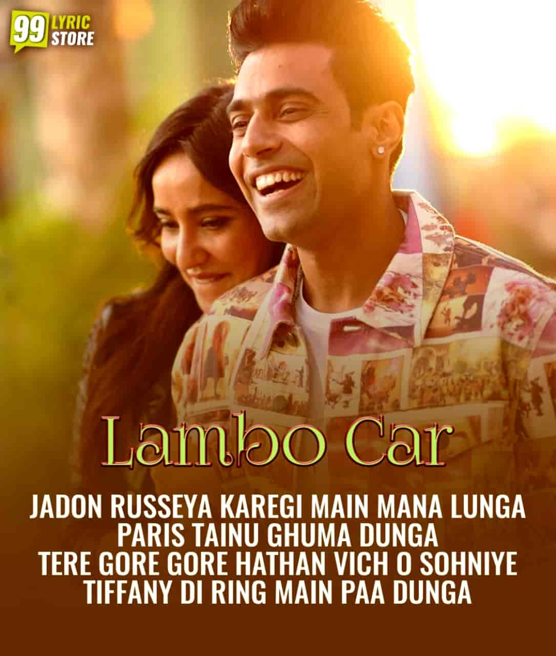 Lambo Car cute punjabi song image features Guri and Neha Sharma