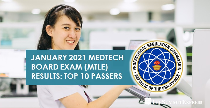RESULT: January 2021 Medtech board exam top 10 passers