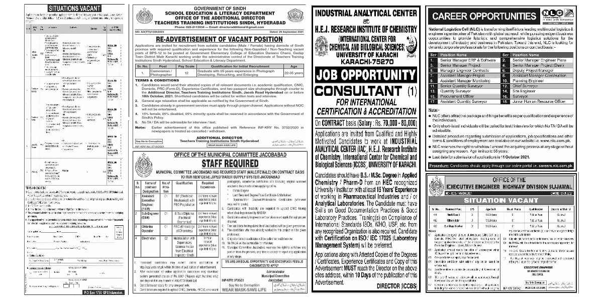 Today Newspaper Jobs 1 October Friday 2021 Multiple Departments