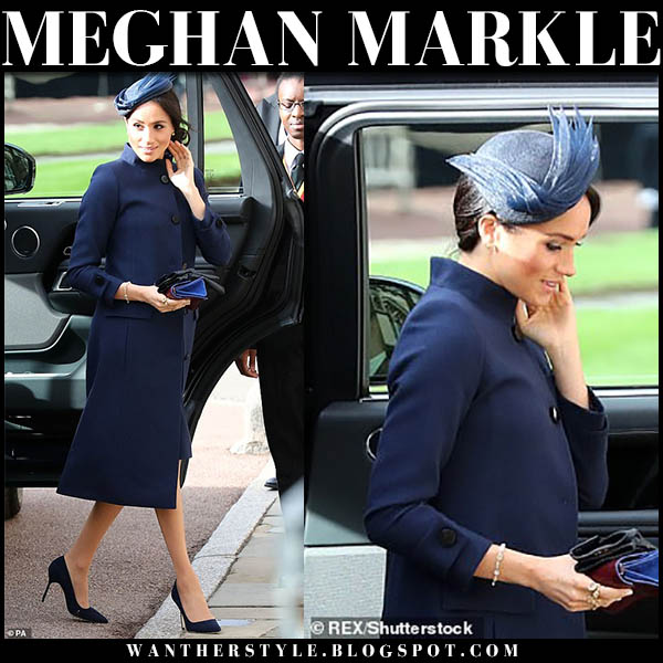 Meghan Markle in navy blue givenchy coat, navy pumps and navy hat royal wedding guests fashion october 12