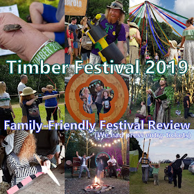 Collage of scenes from Timber Festival 2019 showing people laughing and having fun