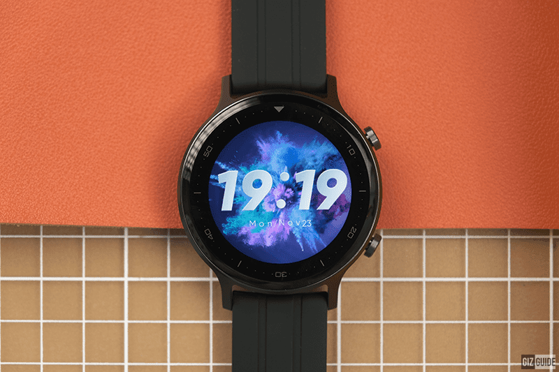 Round face design with two physical buttons