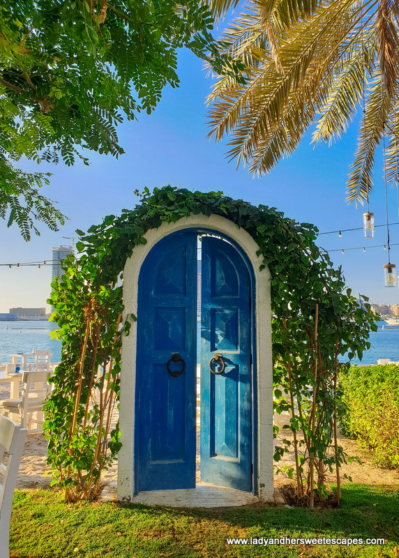 blue door of Fish restaurant in Dubai