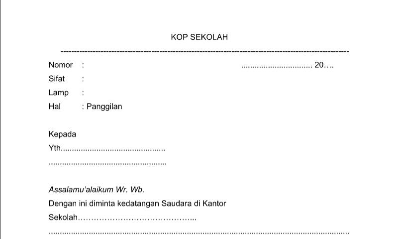 Contoh Format Bentuk Surat Panggilan untuk Perlengkapan Administrasi TU (Tata Usaha) Sekolah