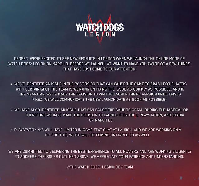 Watch Dogs Legion Online Mode Delayed