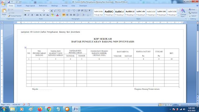 Contoh Daftar Pengeluaran Barang Non Inventaris Sekolah doc