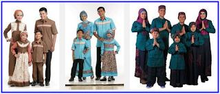 Foto gambar model baju lebaran keluarga muslim, batik, anak, dewasa modern modis terbaru