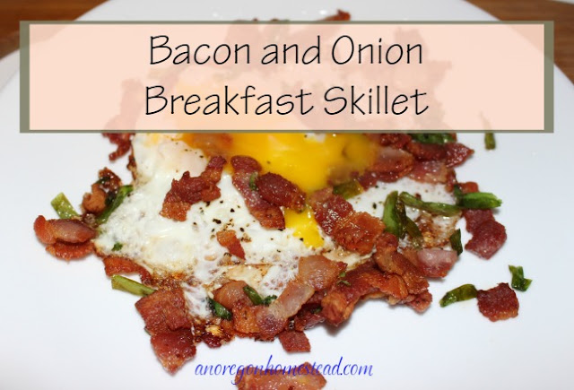 Bacon and onion breakfast skillet. Quick and easy for those mornings when you need something fast.
