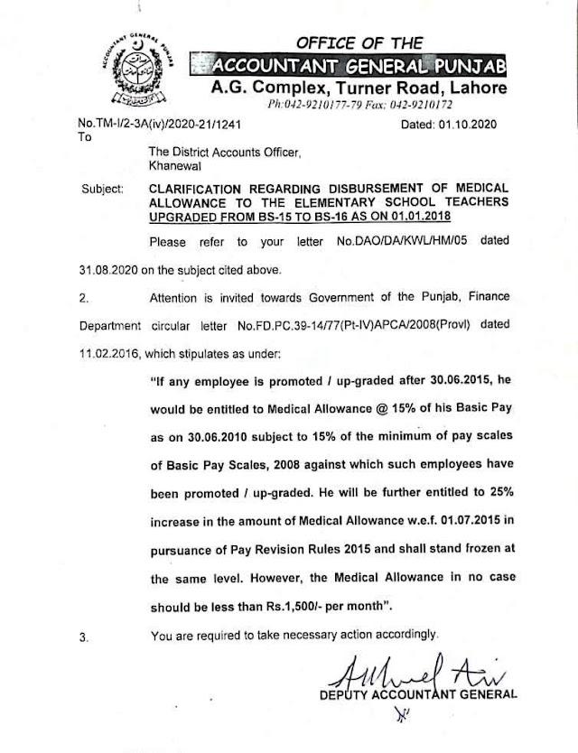 CLARIFICATION REGARDING DISBURSEMENT OF MEDICAL ALLOWANCE TO THE ELEMENTARY SCHOOL TEACHERS