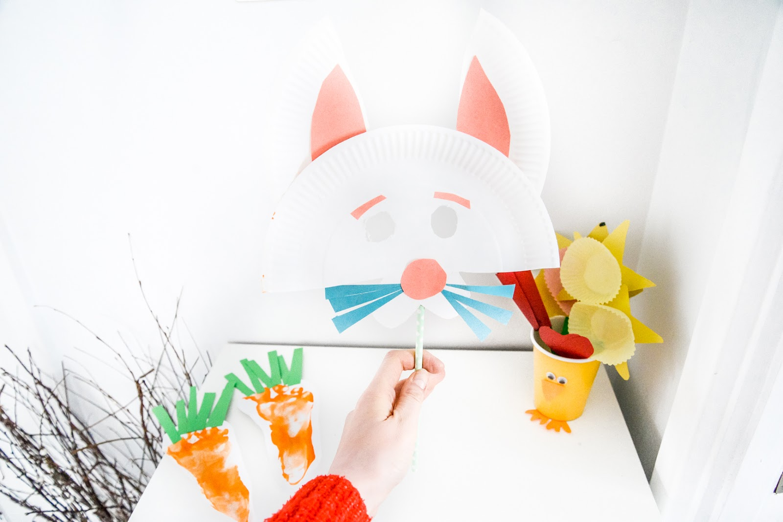 easter crafts, spring crafts, easter kids crafts, carrot footprints, bunny mask, bunny craft mask, spring flowers craft