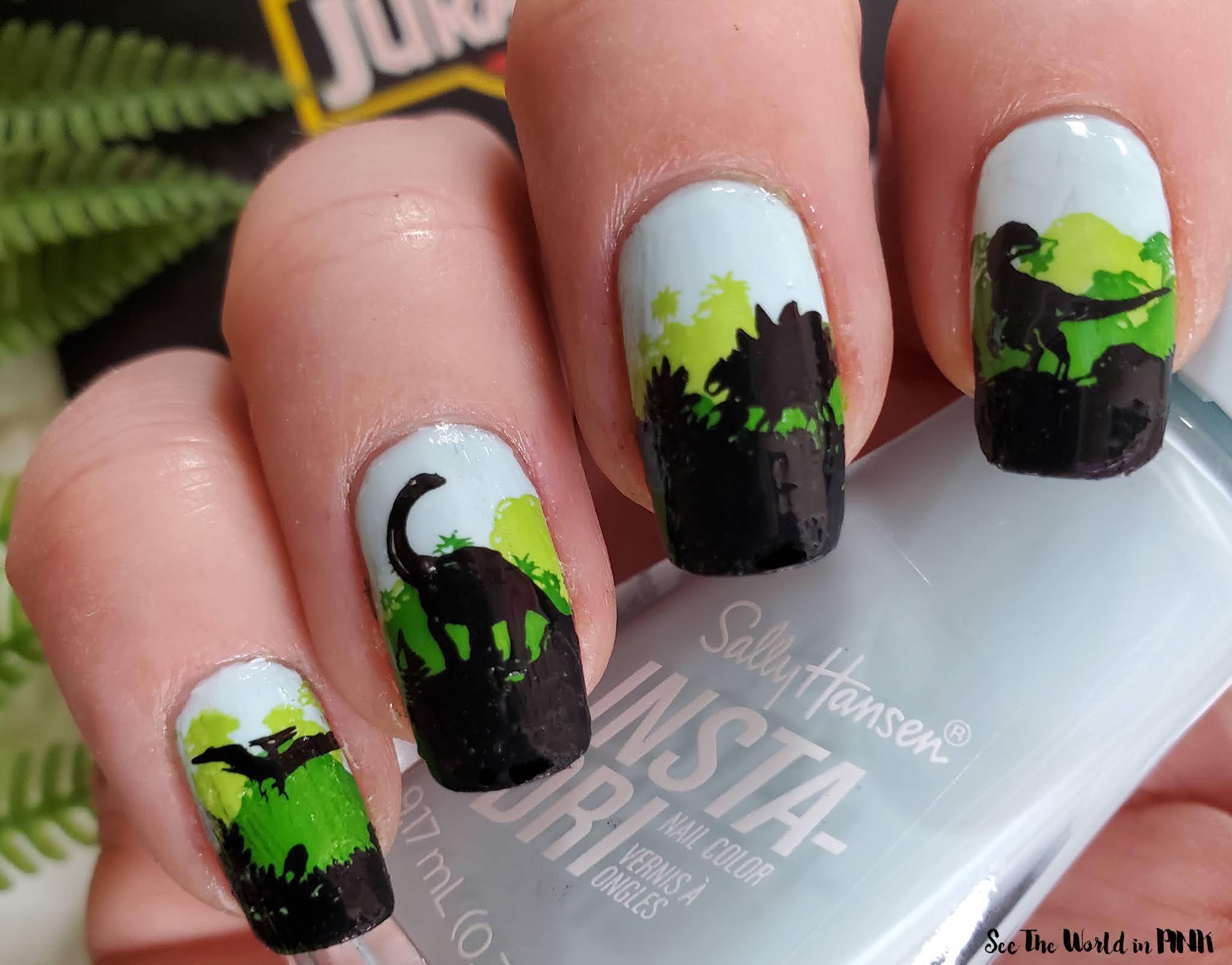 Manicure Monday - Stamped Jurassic Park Dinosaur Nails
