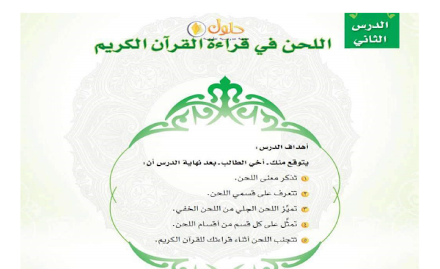 حل درس اللحن في قراءة القرآن الكريم التجويد للصف الاول متوسط