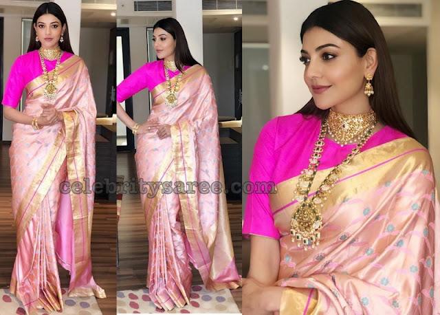 Kajal Agarwal Baby Pink Ikkat Saree