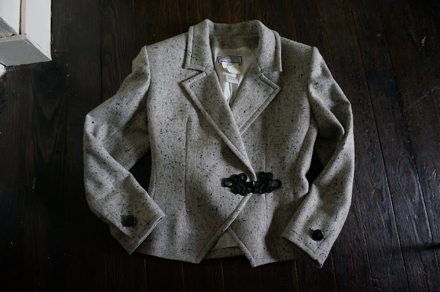 1980s does 1940s yves saint laurent suit skirt jacket wool 80s does 40s vintage