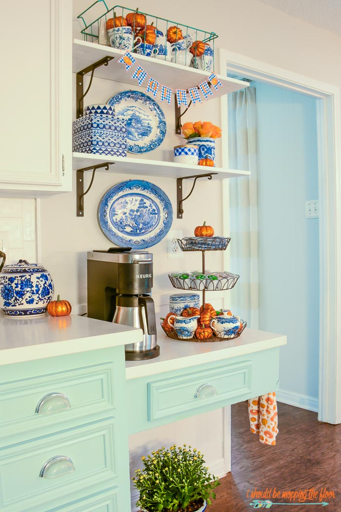 Blue and White Coffee Bar