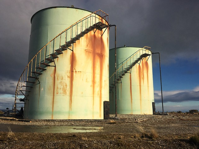 Water tanks above Caleta Clarencia that served Puerto Percy 10km away