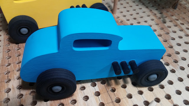 20151218_105602 Wood Toy Car  - Hot Rod Freaky Ford - Deuce Coupe - MDF - Brushed Blue Acrylic Craft Paint - Black Wheels - Gray Hubs - Odin Christmas