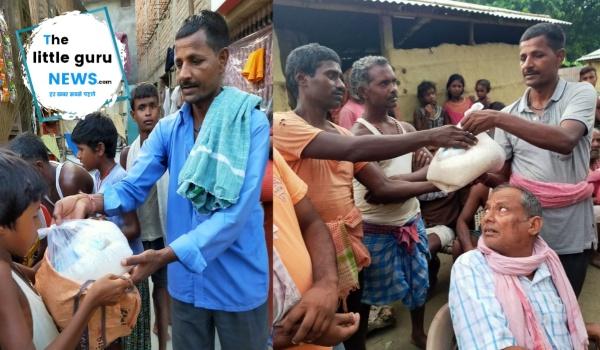 समाजसेवी से ने बाढ़ पीड़ितों में बांटे राशन किट