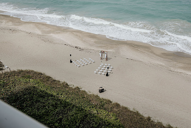 Drone overhead shot of ceremony area on the beach