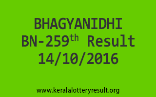 BHAGYANIDHI BN 259 Lottery Results 14-10-2016