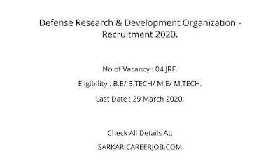 DRDO Requirements 2020 | JRF Post DRDO Latest Vacancy 2020.