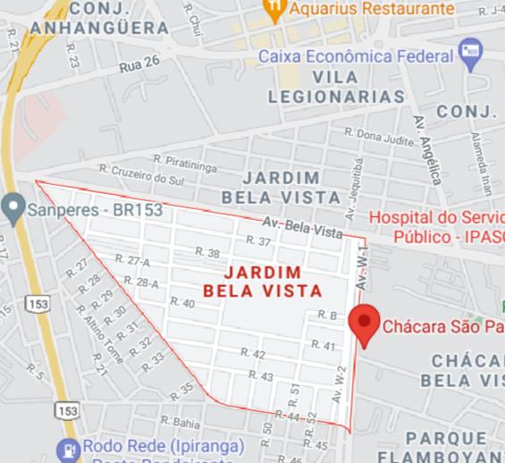 Mapa incompleto do Jardim Bela Vista