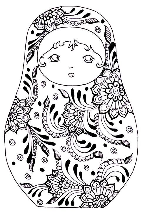 Russische Puppen Seiten für Erwachsene Färbung Mandala Free | Free ...