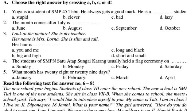 Soal UTS Bahasa Inggris SMP Kelas 7 Semester 1 Terbaru KTSP