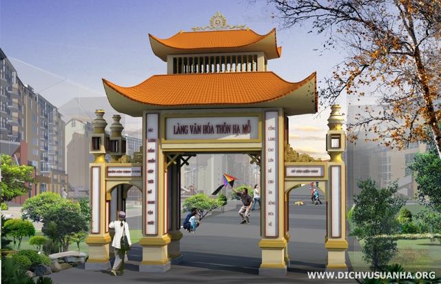 Phối cảnh thiết kế cổng làng (cổng tam quan)