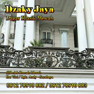 Contoh Pagar Klasik, Pagar Besi Tempa Mewah yang terpasang di Surabaya.