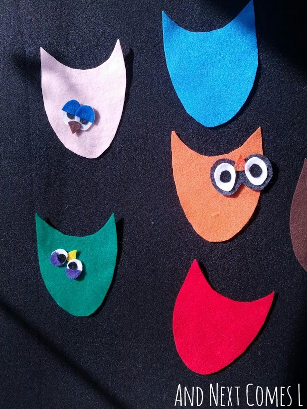 Toddler made owls on the felt board from And Next Comes L