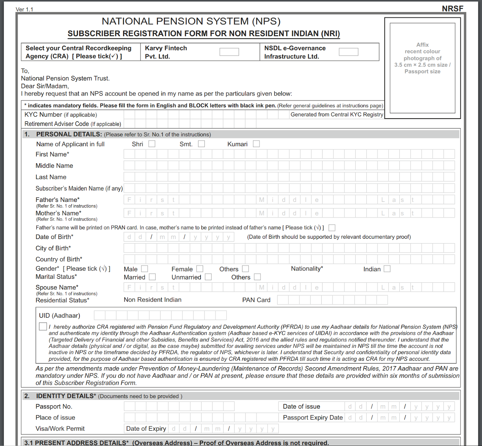 A screenshot of the NRI subscriber registration form for opening NPS account by NRIs