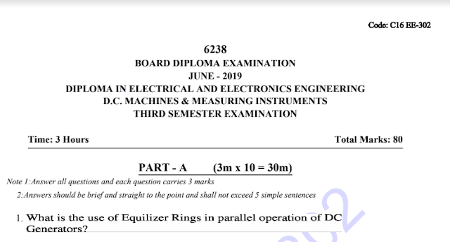 Sbtet previous question papers c16 eee dc machines and measuring instruments june 2019