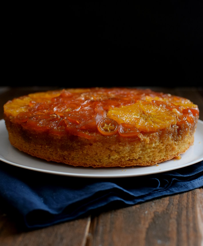 Torta volteada de naranja casera