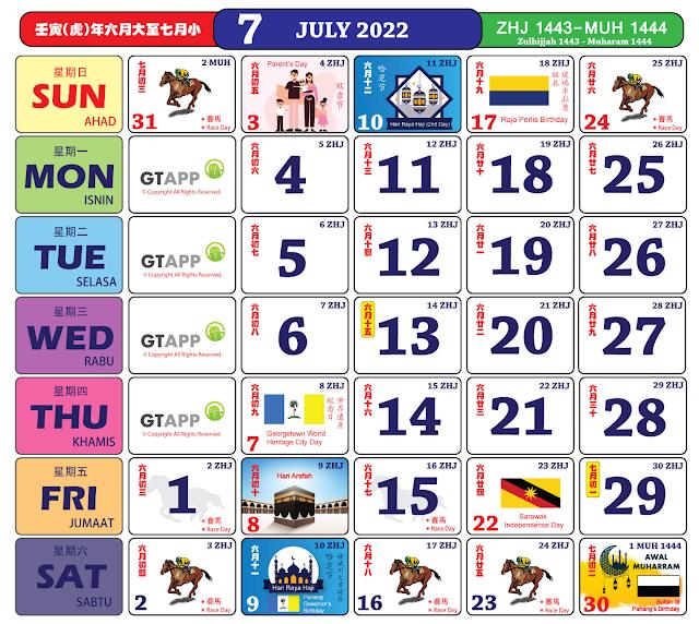 Kalender Julai 2022