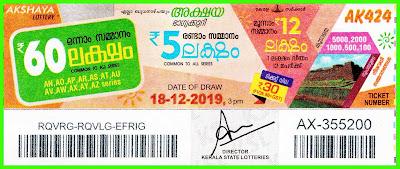 kerala lottery result 18-12-2019 Akshaya-AK 424 (keralalotteryresult.net)