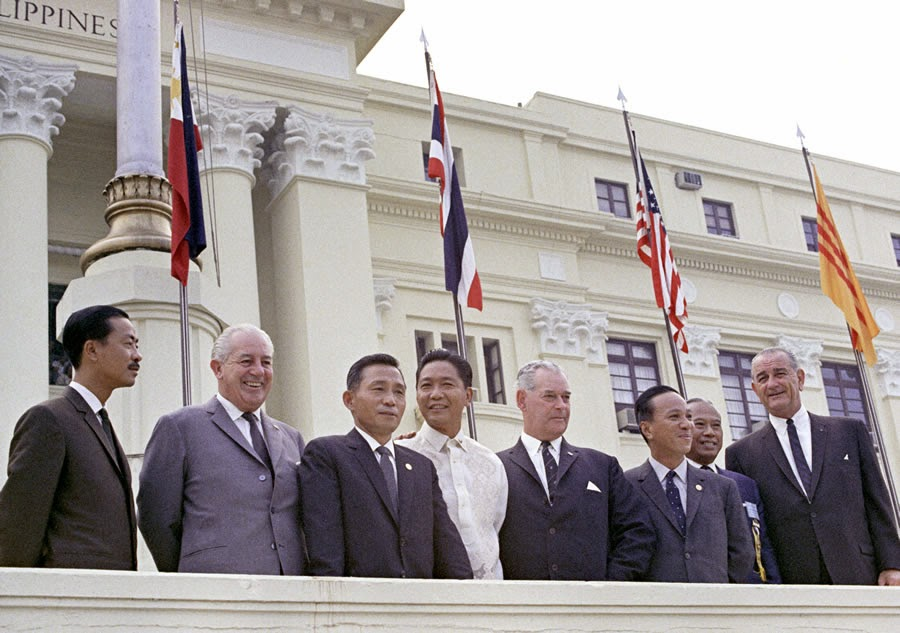 The leaders of some of the SEATO nations in front of the Congress Building in Manila