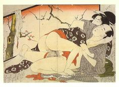 japanese prostitute sex with samurai pillow book illustration